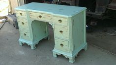 """Distressed Shabby Chic desk in """"Beach Blue""""  Rusty by Design has a desk just like this to be redone!  Auction is Sept. 18 - 22!"""