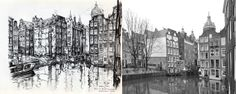 Begin van de Oudezijds Voorburgwal, Amsterdam Anton Pieck, Amsterdam Art, New York Skyline, Inspire, Artists, Travel, Painting, Vintage, Viajes