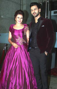 Deepika Singh, other TV celebs and cast of Yeh Hai Mohabbatein were in attendance at the wedding reception of Divyanka Tripathi and Vivek Dahiya at a hotel in Andheri, Mumbai. We have the pictures Indian Wedding Gowns, Indian Gowns Dresses, Indian Bridal, Indian Outfits, Reception Gown, Wedding Reception, Marriage Reception, Engagement Dresses, Indian Celebrities
