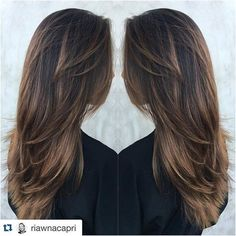 Long Deep Brown Hair with Tawny-Brown Balayage and Lots of Layers - Hair Cut Balayage Brunette, Balayage Hair, Brown Balayage, Bayalage, Brunette Color, Balayage Highlights, Brunette Hair, Ombre Hair, Brunette Long Layers