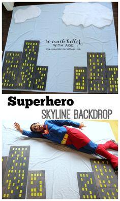 Superhero Skyline Backdrop via somuchbetterwithage.com #superhero #skyline #backdrop #DIY