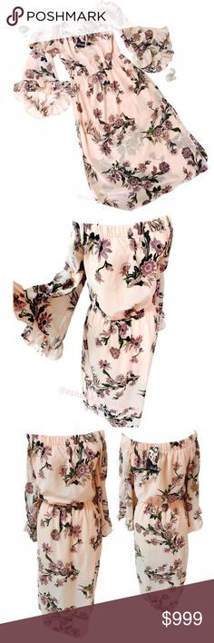 NEW~ Dahlia Daisy Floral Maxi Dress Beautiful Floral Dahlia/ Daisy Floral Dress  Condition: New with tags Color: Light pink Product detail:   Elastic Scoop off the shoulder Neckline Long Kimono/ Bell like flare sleeves Elasic waist Fully lined with Sheer floral print overlay Long maxi dress with slits at bottom hem Great for casual Summer use or for the beach 100% polyester # Vacation, Airy, Beach, Tropical, Hibiscus, Summer, Spring Dresses Maxi