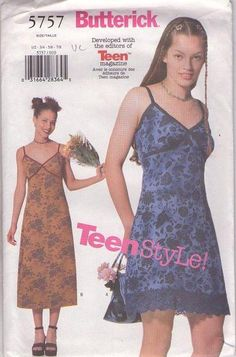 Featured in this listing, is out of print pattern, Butterick Junior's /Teen ,close fitting A-line slip dress. Junior sizes and are included in this pattern. 90s Teen Fashion, Early 2000s Fashion, Pretty Outfits, Cool Outfits, Summer Outfits, Indie Outfits, Fashion Outfits, Teen Style, Look Retro