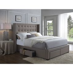 Enrich your home with the modern look of this synthetic leather upholstered wingback bed. Featuring four drawers underneath for storage, this button tufted upholstered bed is practical and beautiful.