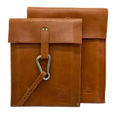 The Brig XV and XII were prototyped in our Dallas, Texas design studio and handmade in Secaucus, New Jersey. These sturdy MacBook cases are constructed with 10-ounce bridle leather and are available in London Tan with red stitching, and a stainless steel carabiner.