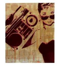 Audrey Hepburn Painting Boombox at TIFFANY'S 11 x 14 by MrMahaffey