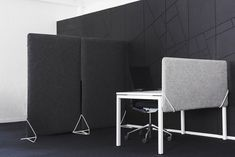 A sound absorbing partition made using the textile 'Adora'. Felt Screen has a steel frame, acoustic fiber filling and a felt cover of wool. It easily slips into the unique steel feet. Floor Screen, Felt Cover, Sound Absorbing, New Environment, Steel Table, Dark Beige, Sound Proofing, Steel Frame, Desk