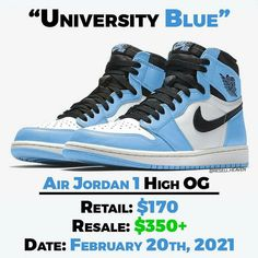 "Gefällt 6,405 Mal, 47 Kommentare - News, Leaks and Predictions (@resell.heaven) auf Instagram: ""The Air Jordan 1 High OG ""University Blue"" is expected to release on February 20th in 2021. 🔥 They…"" Shoe Releases, Blue Air, Jordan 1 High Og, University Blue, Air Jordans, February, Heaven, Sneakers Nike, News"