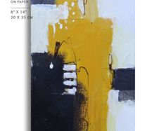 Abstract Original painting on paper yellow red by kuzennyArt