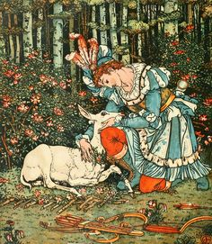 'The hind in the wood' from The Beauty and the Beast Picture Book with the original coloured designs, by Walter Crane. Published 1911