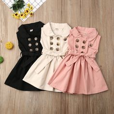 2020 Spring Cotton Baby Toddlers Kids Girl Solid Dress Sleeveless Casual Dresses Party Clothes New Years Gift 12 3 4 5 6 Years , Frocks For Girls, Dresses Kids Girl, Kids Outfits, Baby Girl Fashion, Kids Fashion, Fashion Clothes, Style Fashion, Toddler Dress, Baby Dress