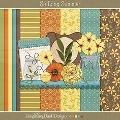 So Long Summer Mini Digital Scrapbook Kit By Dandelion Dust Designs #DandelionDustDesigns #DigitalScrapbooking #SoLongSummer #Summer #GingerScraps