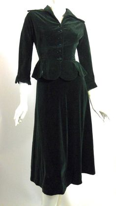 1950s two piece deep green velveteen suit with flared skirt f88f87dcd2