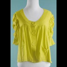 ELLE Yellow Ruffled Short Sleeve Cardigan Size L ELLE Yellow Ruffled Short Sleeve Cardigan Size Large Elle Sweaters Cardigans