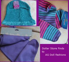 Comes with a tutorial and free pattern for jacket.  All of these cute clothing for American dolls were made from Dollar store neck scarves.