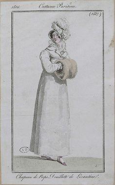 1816 Costume Parisien. Hat of silk. Quilted overcoat of Levantine silk.