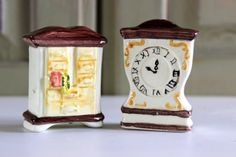 Vintage Salt And Pepper Shakers Grandfather Clock And Dresser Drawers