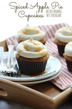 Spiced Apple Pie Cupcakes with Caramel Buttercream Frosting Recipe from bakedbyrachel.com