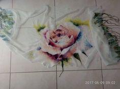 Silk shawl Rose.Hand painted Silk Shawl. Luxury Handmade Silk