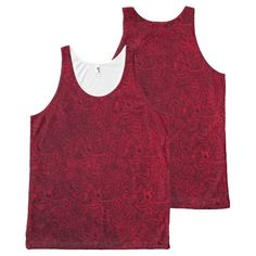 Vintage Floral Ruby Garnet Flame Red All-Over Print Tank Top Tank Tops