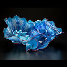 Chihuly Blue Waters Persian Set with Ruby Lip