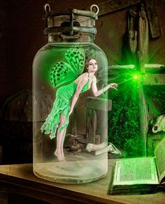 Green Fairy in Glass Jar Myth Mythical Mystical Legend Elf Fairy Fae Wings Fantasy Elves Faries Fairy Dust, Fairy Land, Fairy Tales, 3d Fantasy, Fantasy World, Magical Creatures, Fantasy Creatures, Cute Gifs, Absinthe Fairy