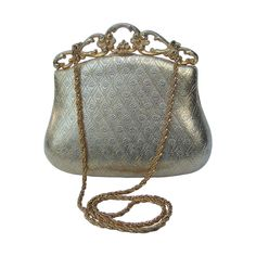 Saks Fifth Avenue Gilt Metal Evening Bag c 1970 | From a collection of rare vintage evening bags and minaudières at https://www.1stdibs.com/fashion/handbags-purses-bags/evening-bags-minaudieres/