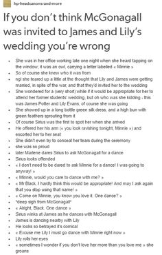McGonagall at James and Lily´s wedding part 1/2