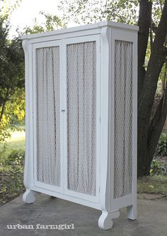 chicken wire cupboard lined with linen... - want for my kitchen!!!