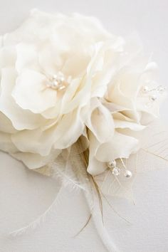 LOUISA Wedding headpiece bridal hair flowers silk by percyhandmade