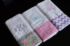 Monogrammed Baby Girl Burp Cloths. So cool.   Visit: http://www.bareindulgence.net