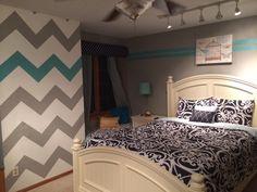 Teen girl room chevron wall blue gray