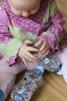 Create some fun, engaging discovery bottle toys for babies and toddlers by using recycled and everyday materials from around the house! These are cheap to make, long lasting and can easily be adapted to create exciting and intriguing sensory play experiences for little ones.