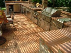 Inimitable Outdoor Kitchens Omaha Nebraska With Double Bowl Stainless Steel Kitchen Sink Top Mount And Concrete Outdoor Kitchen Countertops On Flagstone Patio Pavers from DIY Outdoor Kitchen Guide