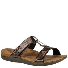 Orthaheel Women's Layla Ii Slide Sandals, Gunmetal Crocodile, 7 M/B-C. Built-in podiatrist-designed and tested orthotic arch support. Restores the foot's natural / neutral alignment which enables the feet- ankles- and legs to function dynamically as they were intended. Orthaheel Layla is a Medium to Wide Width - B-C sandal. Tri-planar Motion Control system for essential support and stability. Flexible and lightweight construction. The sliding center strap of the redesigned Layla gives a...