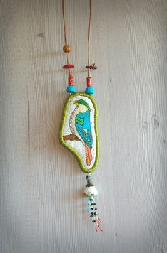 Fabric bird necklace hand drawn bird pendant silk cocoon by Percee