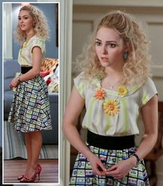 Carrie's cassette tape print skirt, gerbera necklace and pink polka dot heels on The Carrie Diaries.  Outfit Details: http://wornontv.net/14171/ #TheCarrieDiaries