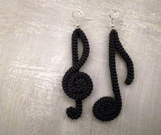 Music Note Earrings Black Crochet Tube Earrings Clef Eighth