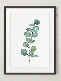 Eucalyptus Scandi Style Room Decoration Art Print, Green Leaves Branch Wall Decor, Minimalist Botanical Watercolour Painting, Nordic Poster