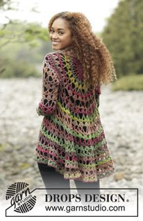 "Fall Festival - Casaco DROPS crochetado em círculo, em ""Big Delight"". Do S ao XXXL. - Free pattern by DROPS Design"