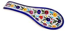 Colored Flowers - Armenian hand painted cooking Spoon Rest / Ladle Holder - Large with deep Round Cup part (10 inches long by 4 inches across and 1 inch deep)