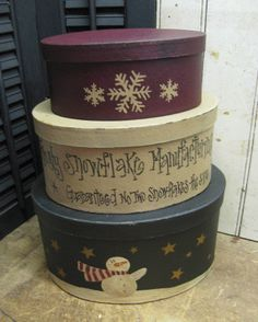 Tooo cute...Snowflake Manuf. Stack Boxes | Stack Box Sets | Winter Country Crafts | Gainers Creek Crafts