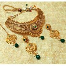 Lalso Traditional Green Golden Kundan Choker Necklace Set With Maank Tikka - Lgn03_gr
