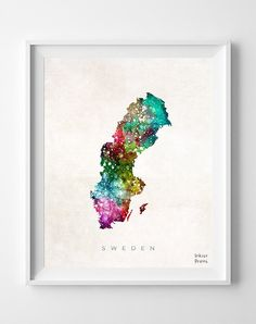 Sweden Map Print Watercolor Swedish Europe Home by InkistPrints