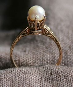 RARE Antique Victorian Art Deco Estate 10K Solid Gold Pearl Engagement Ring Sz 6