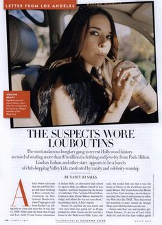 """""""The Suspect Wore Louboutins"""" Vanity Fair // The Bling Ring"""