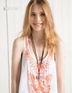 BSK beaded strappy top with neon embroidery - T- Shirts - Bershka United Arab Emirates