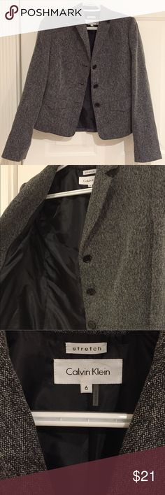 Calvin Klein Women Gray Blazer Jacket Size 6 Size 6  It's super cute  Pre-owned  Great condition   We ship within 24 hours Calvin Klein Jackets & Coats Blazers