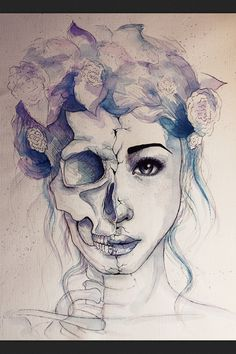 Watercolour ,painting, ink, drawing, girl , skull, pretty, roses, headband, crown