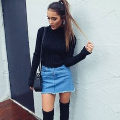 49 Modest But Classy Skirt Outfits Ideas Suitable For Fall The runways favor black, gray, metallics and jewel tones. Dresses are seen everywhere under gorgeous coats so where do skirts […] Outfit Jeans, Jean Skirt Outfits, Casual Skirt Outfits, Cute Outfits, Denim Skirts, Jean Skirts, Night Outfits, Denim Overalls, Denim Street Style